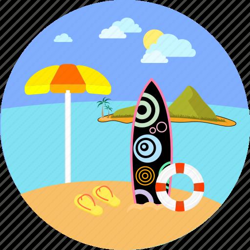 beach, seaside, summer, surfer, surfing, umbrella, water sports icon