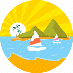 anchor, boat, boating, marine, ship, summer, sunrise icon