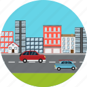 city, buildings, business, cars, construction, roads, highway