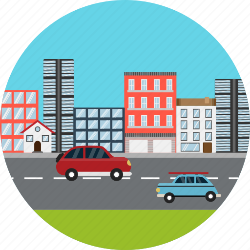 buildings, business, cars, city, construction, highway, roads icon
