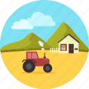 agriculture, blue sky, eco, farm, farming, tractor, village icon