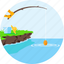 fish, fishing, fishing rod, nature, ocean, sea, water icon