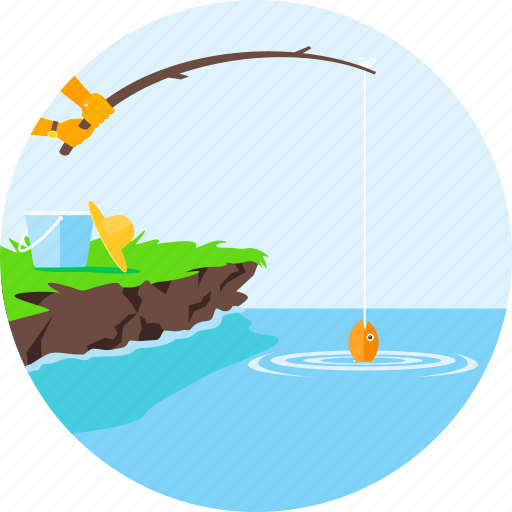 fish, fishing, fishing rod, nature, ocean, sea, water icon
