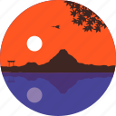 japan, lake, landscape, mountain, nature, sky, sunset icon