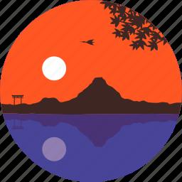 japan, lake, landscape, mountain, nature, sky, sunset icon