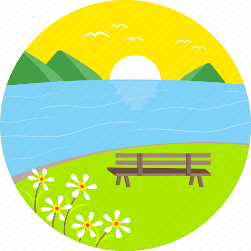 flowers, lake, magnifier, mountains, spring, sunrise, view icon