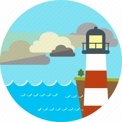 clouds, house, lanscape, light, lookout tower, nature, sea icon