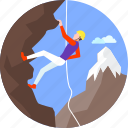 climbing, extreme, landscape, mountain peak, mountains, nature, sky icon