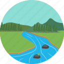 environment, green, landscape, mountain river, mountains, nature, verdure icon