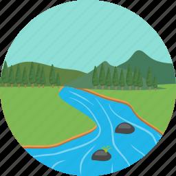 environment, green, landscape, mountain river, mountains, nature, verdure icon