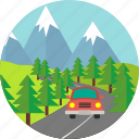 firs, mountain, nature, road, street, trees, vehicle icon