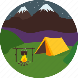 camping, mountains, night, snow, starlit sky, tent icon