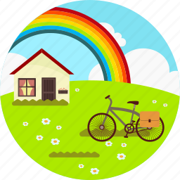 bicycle, cloud, house, landscape, rainbow, spring, valley icon