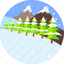 mountain, snow, christmas, firs, snowflake, snowing, winter icon
