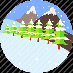 christmas, firs, mountain, snow, snowflake, snowing, winter icon