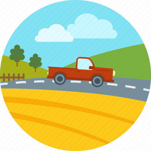 agriculture, car, farm, highway, road, vehicle, village icon