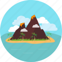 island, volcano, beach, cloud, mountain, sea, sky icon