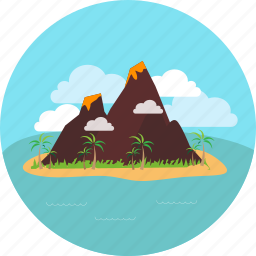 beach, cloud, island, mountain, sea, sky, volcano icon
