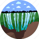 clouds, forest, nature, sky, verdure, waterfall icon