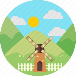 mill, mountains, nature, sun, verdure, windmill icon