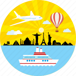 cruise ship, global, holiday, plane, tour, trip, vacation icon