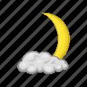 sky, moon, decoration, crescent, month, cartoon, cloud