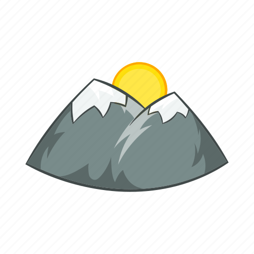 cartoon, mountain, nature, peak, rock, snow, sun icon