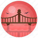 transport, landscape, bridge, river, river bridge