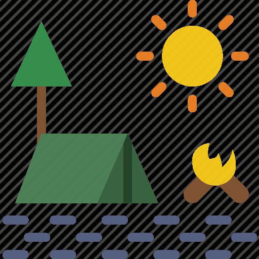 camping, landscape, nature, picture icon