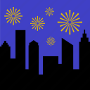 celebration, city, fireworks, landscape, night, party, skyline icon