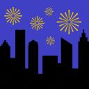 city, fireworks, skyline, night, party, landscape, celebration