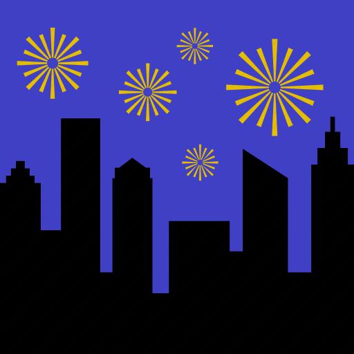 celebration, city, fireworks, landscape, night, party, skyline icon