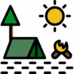 camping, landscape, nature, picture icon