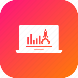 advertising, analysis, business, graph, growth, laptop, seo icon