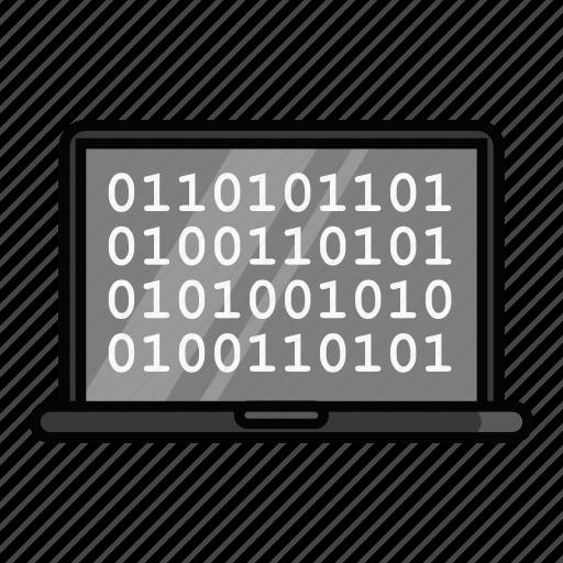 binary, code, emoji, emoticon, laptop, macbook, pc icon