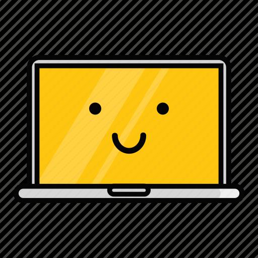 emoji, emoticon, laptop, mac, macbook, pc, smiling icon