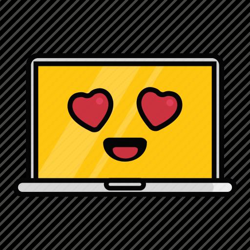 emoji, emoticon, hearts, laptop, love, macbook, valentine icon