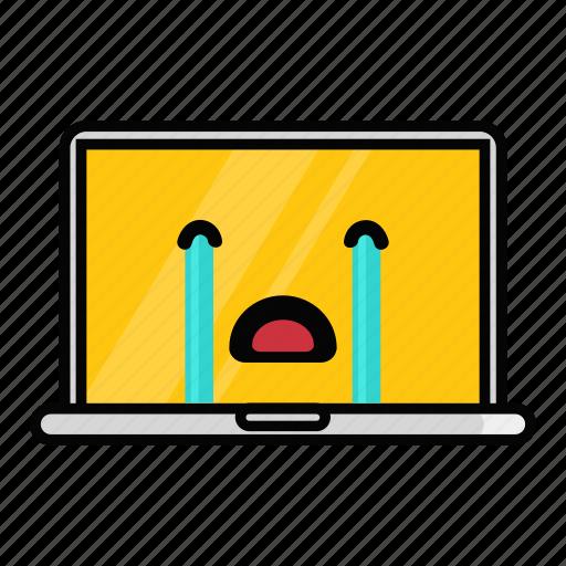 crying, emoji, emoticon, laptop, mac, macbook, pc icon