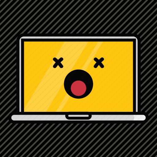 dead, emoji, emoticon, error, hung, laptop, macbook icon