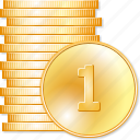 cash, coin columns, coins, currency, money, stack, treasure icon