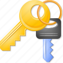 access keys, key trinket, open lock, password, safety, security, unlock icon
