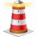 direction beam, guide, light house, lighthouse, navigate, sea navigation, signal icon