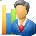 analysis, business man, marketer, marketing, planning, sales chart, seo graph icon