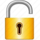 lock, open, open lock, padlock, password, secure, security, unlock, unlocked icon