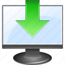 display, down arrow, download, downloads, guardar, load, save, store icon