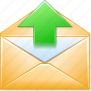 communication, envelope, letter, message, post, send email, upload mail icon