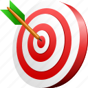 aim, bullseye, center, goal, point, target, targeting arrow icon