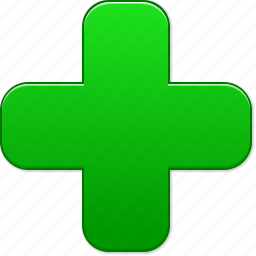 add, green cross, health, hospital, medical symbol, new, plus icon