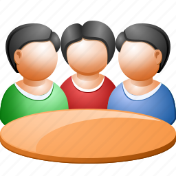 business meeting, communication, conference, connection, people, round table, training icon