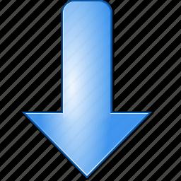 arrow, decrease, direction, down, download, minimize, move icon